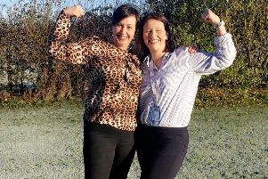 Winning a month's free gym membership, pictured are members of Whistle Dixies Louise Pollock and Alison Potts (left)