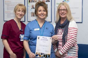 Marlene (middle) with Nurse Director Hazel Borland (left) and Jacqueline Thomson.