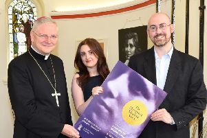 Stephen Callaghan pictured with Archbishop Leo Cushley at the opening of a previous play.