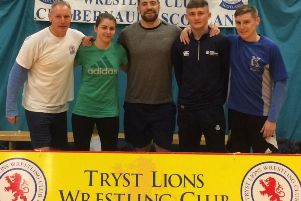 Tryst Lions Commonwealth Games representatives Steven McKeown, Sarah McDaid, Joe Hendry, Ross Connelly and Lee McKeown