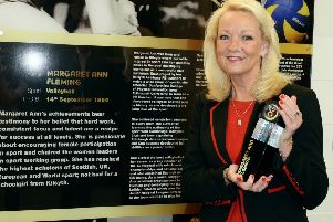Margaret Ann Fleming being inducted into North Lanarkshire's Sporting Hall of Fame