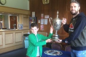 Magnus Tait - youngest ever winner of Bovril Cup at Rosslyn Bowling Cup with partner Dougie Todman