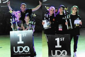 World champions Erin and Emilie and twins Alix and Holly receive their trophies