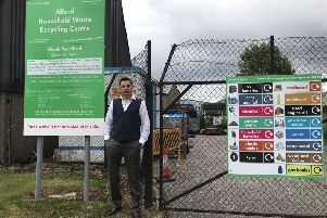Councillor Withey at Alford recycling centre