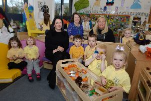 Spaceright sales manager Stephanie Lawrie (left) meets lead early learning practitioner Margaret Mary Murphy (centre), acting depute head Marie Clare Duffy and some of the children from the nursery class at Cathedral Primary