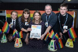 Celebrating the award are (l-r) Cumbernauld Academy pupil Alyssa Young, LGBT Youth Scotland's Cara Spence, NLC education support officer Elinor Steel, LGBT Youth Scotland's Graeme Lea-Ross and Cumbernauld Academy Jordan Burns