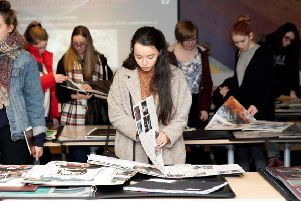 Art students browse portfolios at the event held in New College Lanarkshire's Cumbernauld campus in conjunction with Duncan of Jordanstone College of Art & Design