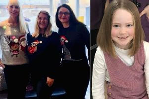 Braids' staff (l-r) Helen Brady, Karen Cranie and Marlene Grant will have their hair chopped in February in aid of the Little Princess Trust, while youngster  Isabella McGregor sacrificed her locks earlier this month