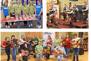 Secondary schools across Cumbernuald, Kilsyth and Chryston gathered together for a Christmas concert in aid of SCIAF. (Clockwide from top left) youngsters promote the work SCIAF does in 27 countries, pipes and drums from Cumbernauld Academy and the samba band from St Maurice's High