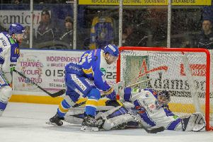 A big moment in the match as Marcus Basara is denied at point-blank range by Coventry netminder Matt Hackett. Pic: Jillian McFarlane