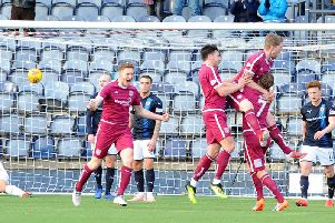 Arbroath players celebrate Colin Hamilton's match-winning strike. Pic: Fife Photo Agency