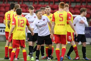 John Rankin shakes hands after completing his 600th senior appearance for Clyde against Albion Rovers (pic by Craig Black Photography)