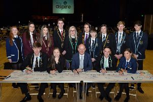 Pupils signed a banner as part of their commitment to the six conference themes