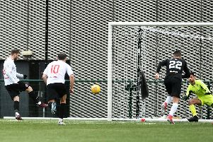 David Goodwillie coolly scores Clyde's winner from the penalty spot (pic by John Devlin)