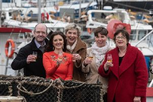 Toasting the VisitScotland Growth Funding and new campaign are Michael Murray (harbour board); Jo Robinson (VisitScotland); Karen Paterson (Feuars Managers); Carole Short (vice-chair, Discover Fraserburgh Tourism Group) and Lynda McGuigan (chair, Discover Fraserburgh Tourism Group).