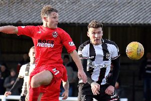 Clyde midfielder John Rankin competes with Darryl McHardy during Saturday's match at Elgin. (pic by Robert W Crombie)
