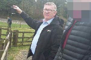 North Lanarkshire Council's Jim Brannigan meets with a prospective new owner of some of the animals at Palacerigg