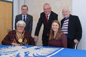 German student Stefanie Brand with North Lanarkshire provost Jean Jones and (standing l-r) planning manager Gordon Laing, council leader Jim Logue and Helen Russell of the Schwienfurt Twinning Association