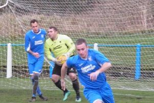 Two-goal Lewis Hill (1st left) did a great job filling in for suspended Ian Watt (1st right) against Johnstone Burgh on Saturday (Library pic)