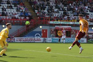 David Turnbull slots Motherwell ahead at Hamilton (Pic by Ian McFadyen)