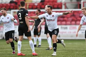 Ally Love celebrates after putting Clyde two up against Edinburgh City (pic: John Devlin)