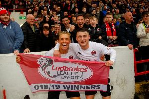 Tom Lang and Mark Lamont show their delight after Clyde's win