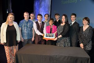 South Lanarkshire depute provost Collette Stevenson with the Hairmyres students