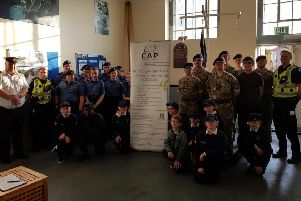 The Queensferry Sea Cadets, who  delivered around 1,000 letters on Monday. PC Martin Crow is pictured on right.