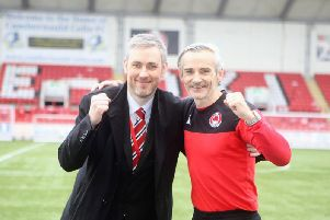 Danny Lennon has extended his Clyde contract, to the delight of chairman David Dishon (pic: Craig Black Photography)
