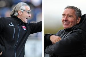 Clyde manager Danny Lennon and Peterhead boss Jim McInally
