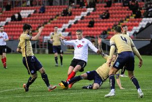 A glimpse of the action last week as Clyde took on Forfar Athletic (picture by Craig Black)