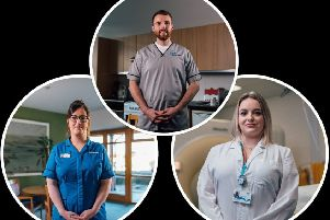 Colin Cruickshank, Elizabeth Ruxton (left) and Kate Sexton are supporting the campaign to encourage young people to consider a career in healthcare.