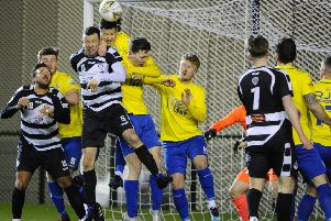 Marty Wright heads clear during an East Stirlingshire attack (pic: Alan Murray)