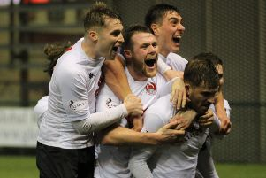 Clyde celebrate their third goal whch sealed their win over Airdrie (pic: Craig Black Photography)