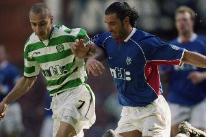 Action from a classic Old Firm Derby