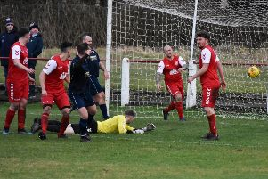 Paul Callendar heads in Cumbernauld's third goal (pic: Chloe Kelly)