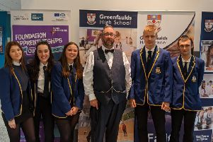 Mike Haines OBE, founder of Global Acts of Unity, gave a talk to pupils at Greenfaulds High