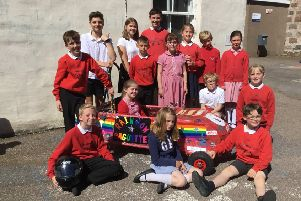Crathes pupils with their Greenpower Goblin the 'Rainbow Baguette'