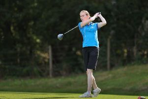 Angela Joss tees off on her way to victory at Aboyne with Hannah Bycroft.
