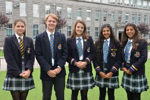 Pictured (from left) are local pupils Mary Shearer, Ross Martin, Nina Hounsome, Anisha Badial and Rhia Badial who have all secured university places in their chosen fields including medicine, dentistry and veterinary medicine.