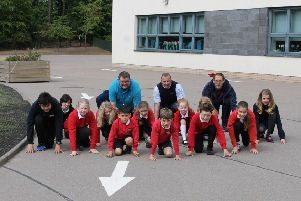 Hill of Banchory pupils trying out the new route