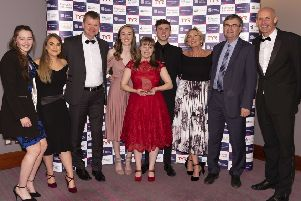 Kirkintilloch & Kilsyth ASC celebrate their Scottish Swimming Club of the Year Award (pic by Ricky Rowe for Scottish Swimming)