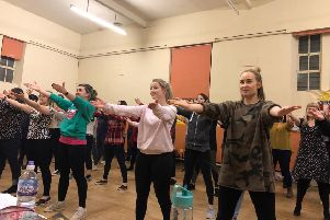 Members of AOC Productions in rehearsals for 'A Musical Shrektacular', ahead of their main show 'Shrek' this summer.