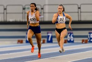 Maddy Silcock (right) in the Scottish U20 60m