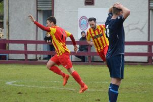 Liam McGonigle celebrates after scoring Rossvale's winner at Cumbernauld (pic by HT Photography/@dibsy_)