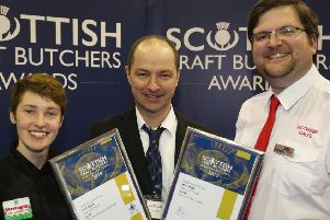 Amos Smith (centre) with contest sponsors (left) Erin Conroy from Verstegen and (right) Duncan McVicar from Scotweigh.