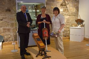 Councillor Billy Hendry with Esmee Thompson-Smith and Irene McCafferty of the Auld Kirk Museum