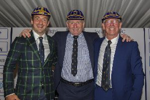Jedforest's guest of honours the Three 9s Greig Laidlaw, Gary Armstrong and Roy Laidlaw.