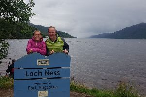 Caroline Connor and her husband Grahame at Loch Ness.