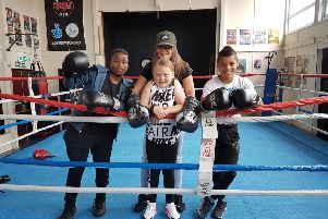 Youngsters Tapi Emmanuel, Hannah Maguire and Kamil Gomo with Kat Paton.